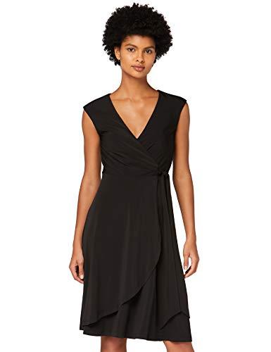 Marca Amazon - TRUTH & FABLE Vestido Cruzado de Punto Mujer, Negro (Black), 46, Label: XXL