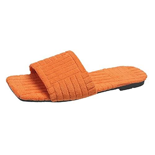 MRGIINR Zapatillas de lino para mujer, suaves, cómodas, planas y cuadradas, de corte bajo, puntera abierta, sin espalda, zapatos de moda, zapatillas de moda, Orange, 39 EU