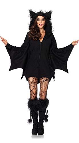 Bowanadacles Costume da Pipistrello per Halloween Tuta Intera Divertente per Famiglia Donna Uomo Bambino con Cappuccio a Maniche Lunghe Costume per Festa Cosplay (Nero A - Donna, L)