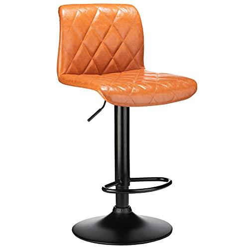 BlueOcean Furniture - Set di 2 sgabelli da bar per colazione, sala da pranzo, con poggiapiedi e base girevole a gas, eleganti sgabelli in pelle per bar, bancone cucina e casa