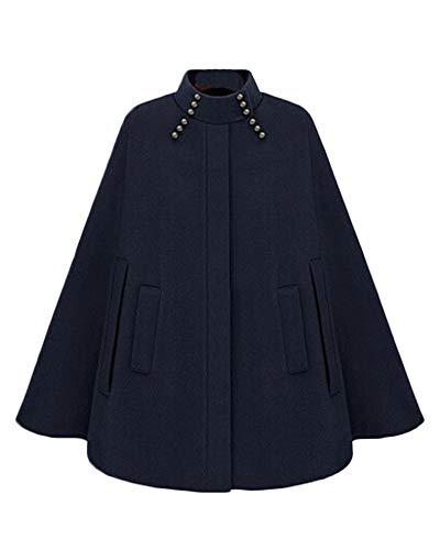 PengGengA Damen Faux Wolle Mantel Jacken Poncho Cape Mittlerer Und Langer Abschnitt Wollmantel Jacke Mit Tasche Blau