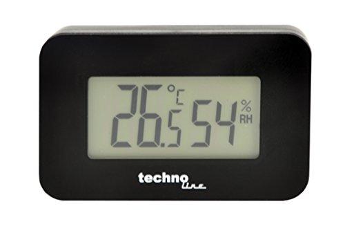 Technoline WS 7009 Thermometer, autothermometer met achtergrondverlichting voor het interieur, zwart, temperatuurweergave, luchtvochtigheidsweergave