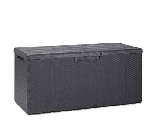 Toomax Baule Multibox Portofino da Esterni con Seduta, Finiture Legno e midollino, Dim cm 123,7x54,5x56,2h, Art. 176, Colore Antracite