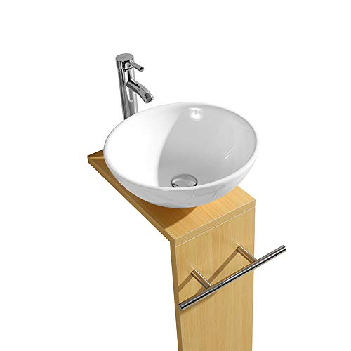 Tonyrena Modern Wood Color Bathroom Vanity with Ceramic Vessel Sink,Faucet and Pop Up Drain Combo