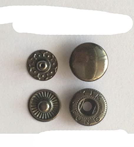 Botón de broche de presión de metal redondo para bolsas de ropa de cuero Snap Fastner Press Studs Kit Instalador de herramientas Botones plateados 831/633/655/201/203-gris oscuro 12 mm 633,10 juego