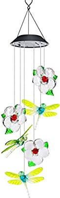 Solar LED Wind Chimes Outdoor,VEEKI Color-Changing Mobile Wind Chime Waterproof Wind Chime hanging Solar Powered Wind Chimes Lights for Outdoor Garden corridor Decoration (Dragonfly+Flower)