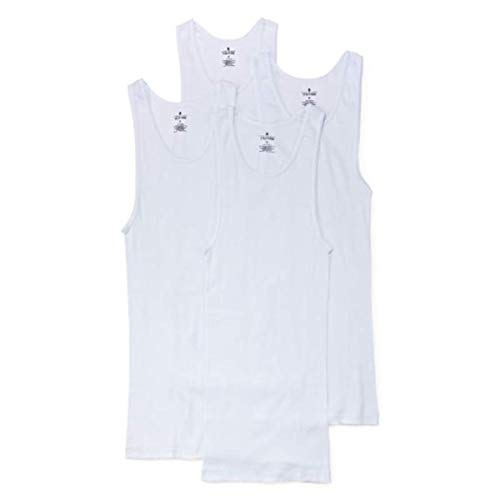 Stafford 4 Pack Blended Cotton A-Shirts Ribbed Tank Top (M) White
