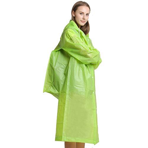 Fahrrad-Regenmantel, Unisex, dick, Wandern, Reisen, leicht, transparent, Gürteltasche, EVA-Regenmantel für Erwachsene (Farbe: Grün, Größe: XL)