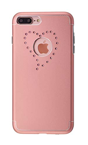 iShield® for iPhone con Crystals from Swarovski® Corazón (iPhone 8 Plus/7 Plus, Rosa)