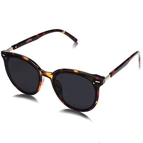 SOJOS Klassisch Retro Runde Sonnenbrille Damen Herren Groß Brille BLOSSOM SJ2067 mit Demi Rahmen/Grau Linse
