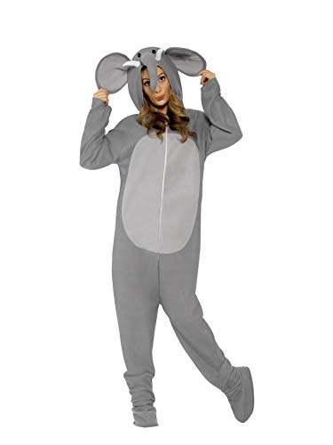 Smiffys, 27827M Unisex Elefanten Kostüm, All-in-One mit Kapuze, Größe: M, 27827