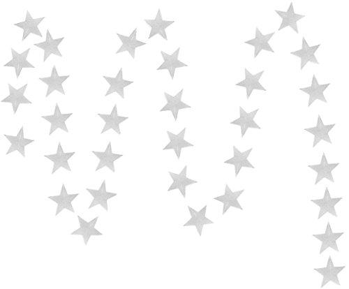 FiveSeasonStuff 2 Pcs Gray Star Shape Hanging Paper Garlands (2 x 4 Metres) Large