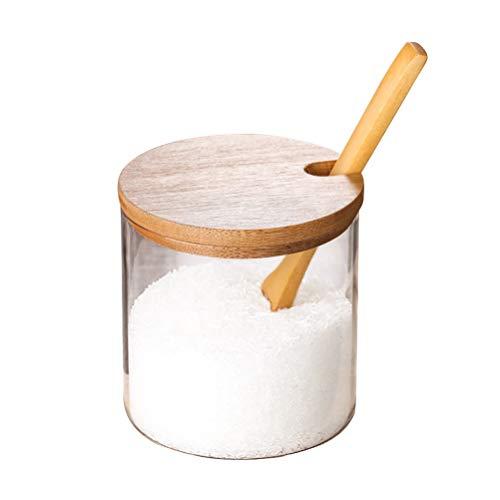 Tarros de especias para cocina, concisos, transparentes, recipientes de almacenamiento con cuchara de madera, tapa de bambú para servir azúcar, café, suministros de cocina (color: marrón)