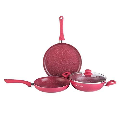 Wonderchef Romano 3 Piece Induction Bottom Cookware Set (Pink)