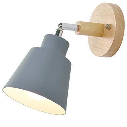 Bopfimer Lámpara de pared de madera para mesita de noche, dormitorio, habitación, lámpara de...