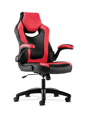 HON Sadie Racing Gaming Computer Chair- Flip-Up Arms, Black and Red Leather (HVST912)