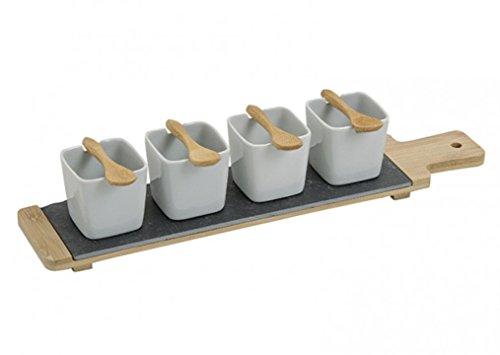 meindekoartikel 9 teiliges Set Serviertablett mit Schalen und Löffel aus Porzellan/Bambus/Schiefer