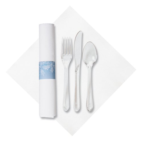 "Hoffmaster 119997 Pre-Rolled FashnPoint Dinner Napkin and Heavyweight Blue Snowflake Clear Cutlery, Bagged, 15-1/2"" x 15-1/2"", White (Pack of 100)"
