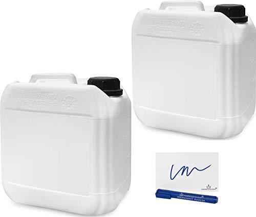 MARKESYSTEM - Garrafa bidón plástico HPDE (2 de 4 Litros) + Kit Etiquetado - Rosca boca ancha - Apilable - Apta uso alimentario