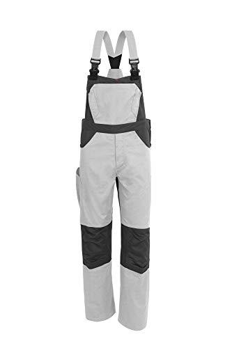 Qualitex X-Serie Unisex Latzhose in weiß/grau Größe 44, Lange Arbeitshose für Herren und Damen, Cargohose mit vielen Taschen