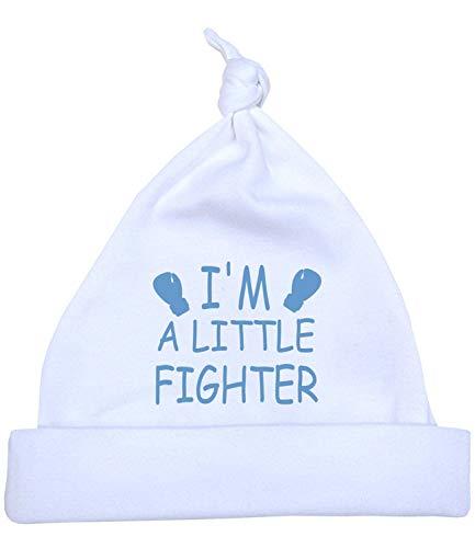 Babyprem Frühchen Baby Hut Mütze Jungen Mädchen 'I'm a Little Fighter' 32-38cm BLAU P1