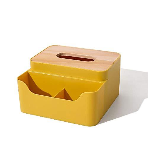YQZX Caja de pañuelos Sala de Estar doméstico plástico Papel Caja de Papel Mesa de café Rollo de Papel Bombeo Creativo Multifuncional Control Remoto Control de Almacenamiento,Yellow
