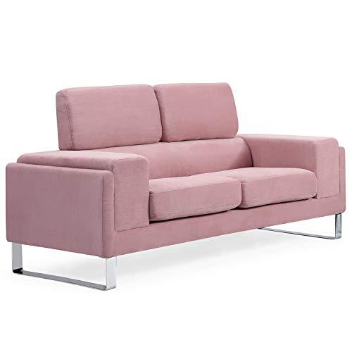 Canapé 2 places Rose Velours Contemporain Confort