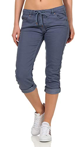 Fresh Made Damen Capri 3/4 Hose Shorts Boyfriend LFM-119/LFM-136/LFM-162 Destroyed Flint Stone Blue M