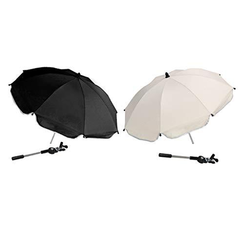 lahomia Paraguas Universal de Protección Solar Parasol 2pcs con Soporte para - Blanco + Negro, Individual