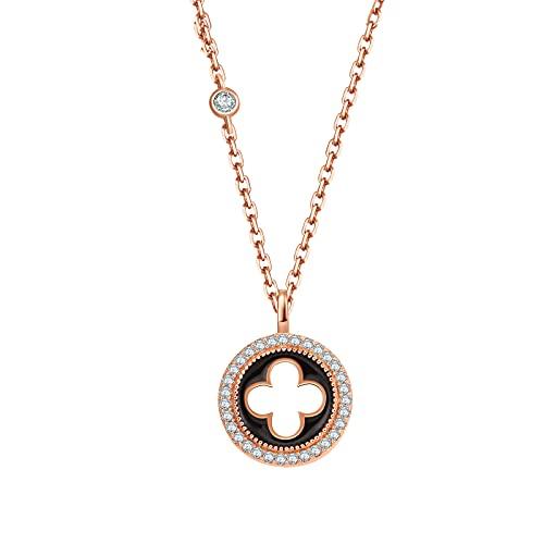 Qings Collar de Trébol de Cuatro Hojas,Collares con Colgante de Trébol,Collar de La Suerte para Mujer(Collares San Valentín)