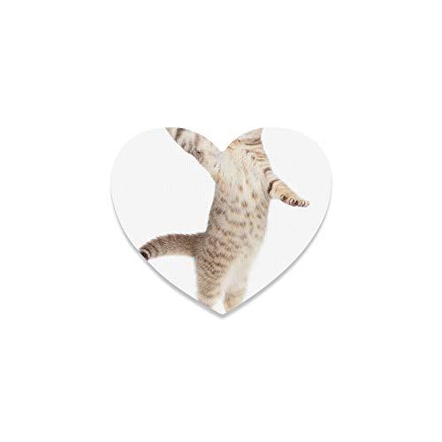 Posavasos rústicos para bebidas, diseño de gato bailando en el suelo blanco con forma de corazón, para decoración de apartamento, cocina, sala de bar, decoración