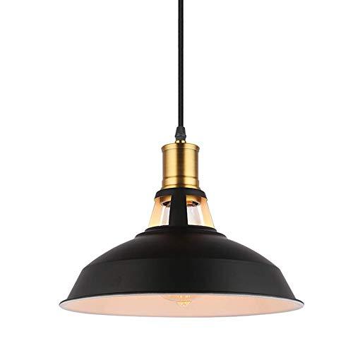 Maxmer Lámpara Vintage Colgante Luz Industrial Lámpara de Techo Retro Cocina Comedor Restaurante Color Negro