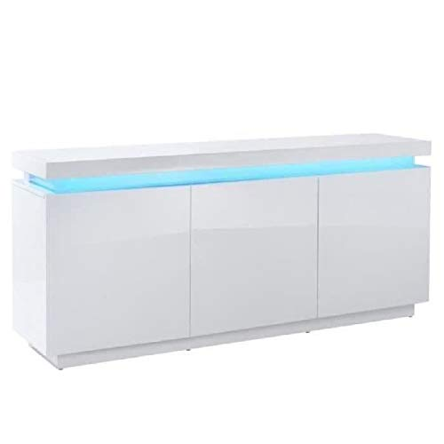 ODYSSEE Buffet LED contemporain laque blanc brillant - L 170 cm