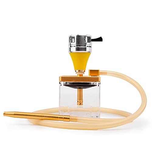 Shisha cachimba Set con manguera de cuero cubo cachimba acrílico con luz LED mágica luz silicona cachimba de aluminio vástago perfecto entretenimiento shisha kit amarillo