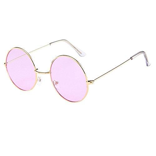 Topgrowth Uomo Donna Rotondi Occhiali Tondi da Sole Retro Occhiali da Sole Retro Metallo Vintage Cerchio Lens Moda Unisex Classic (Rosa)