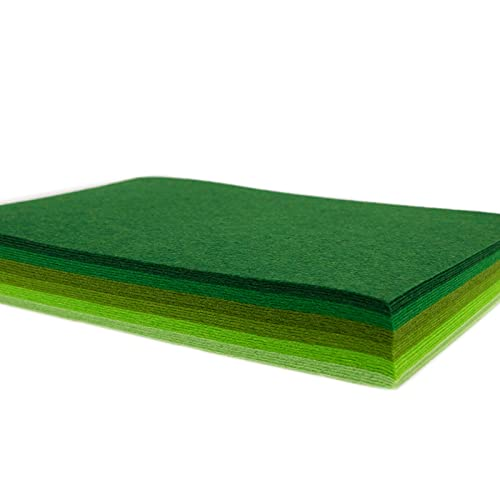 HellooColor 6x5 Pcs Felt Fabric Sheet 8x12 inches Green Series Craft Squares Nonwoven 1mm Thick