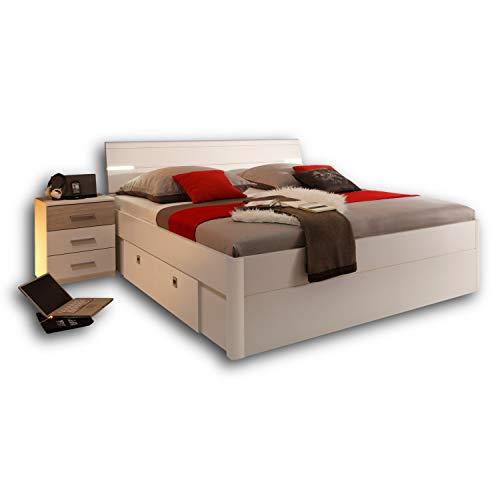 Stella Trading MARS Stilvolle Doppelbett Bettanlage 180 x 200 cm mit 2x Nachtkommoden - Schlafzimmer Komplett-Set in weiß / Eiche Sonoma Optik - 216 x 97 x 185 cm (B/H/T)