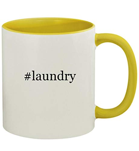 #laundry - 11oz Ceramic Colored Handle and Inside Coffee Mug Cup, Yellow