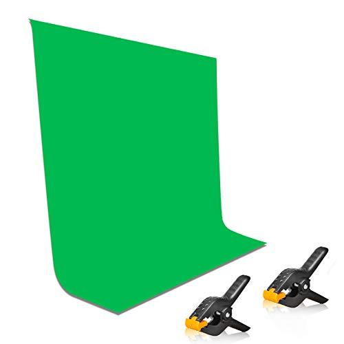 EMART 5x7ft Non-Woven Fabric Solid Color Green Screen Photo Backdrop with 2x Backdrop Clampsfor Photoshoot, Studio, Video and Televison