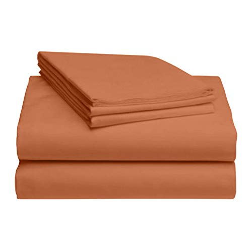 LuxClub 4 PC Microfiber and Bamboo Sheet Set: Bamboo Bedding Sheets with Microfiber - Softer and More Breathable Than Cotton - Antibacterial and Hypoallergenic - Machine Washable, Autumn Orange, Queen