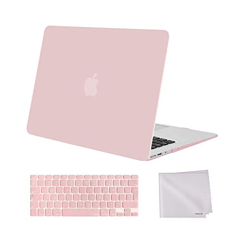 MOSISO Hülle Kompatibel mit MacBook Air 13 Zoll ältere Version 2010-2017 Release A1369 A1466, Plastik Hülle & Tastaturschutz & Tuch Abwischen Nur Kompatibel mit MacBook Air 13 Zoll, Rose Quarz