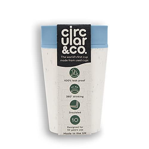 Circular and Co Kaffeebecher 227ml - Weltweit erster, aus Einweg Pappbechern recycelter Thermobecher, Coffee to go Becher, auslaufsicherer Trinkbecher mit 360° Trinkrand in Blau-Weiß