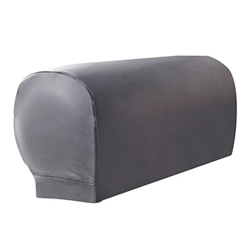 2pcs Sofa Armrest Covers,Armchair Arm Covers Stretch Sofa Arm Caps Armrest Covers for Chairs Furniture Protector Set,Armrest Covers Spandex PU Leather Arm Caps for Couch Stretchy Arm Slipcovers(Grey)