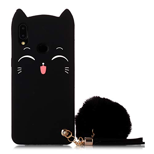 Galaxy A10S Cat Case, Galaxy A10S Silicone Case, Fashion Cute 3D Black Meow Party Cat Kitty Kids Girls Lady Protective Cases with Pompom/Strap Soft Case Skin for Samsung Galaxy A10S