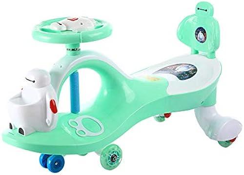 Kinder Twist Car 1-3-6 Jahre alt stumm Rad blitzrad yo Auto schaukel Auto spielzeugauto Roller FANJIANI (Farbe   Grün, Größe   Mute Wheel)