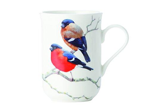 Maxwell & Williams Birds of The World Dompfaff, Geschenkbox, Porzellan, PBW1050 Becher, weiß, rot, 10.5 x 7.5 x 10.5 cm