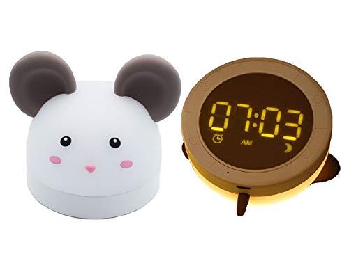 Lamparita Despertador luz led infantil para niños con reloj para mesita de noche. Luz nocturna USB recargable