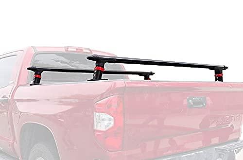 TMS Universal Aluminum Truck Bed Tonneau Cover Rack Crossbars Low Profile 2 Bars Set for Kayaks Bike Rack Rooftop Tent Camper Shells RVs