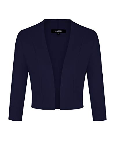 MINTLIMIT Bolero Damen Open Knit Cardigan Strickjacke Langarmshirt Kurz Zum Kleid Shrug Cardigan Top DunkelBlau M