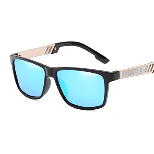 Gafas de sol polarizadas retro de la manera cuadrada antirreflejos de conducción gafas de sol al aire libre Black